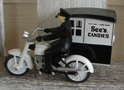 Vintage Collectible See's Candy Motorcycle and Driver for sale  Delivered anywhere in USA