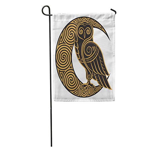 Semtomn Garden Flag Pagan Owl in Celtic of The Moon White Abstract Animal Home Yard House Decor Barnner Outdoor Stand 12x18 Inches Flag