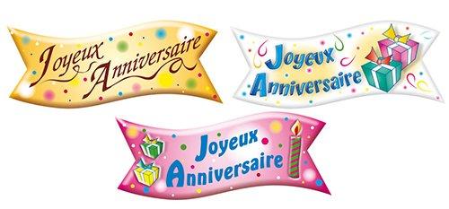 24 unit/és Cuisineonly alimentaires Azymes - P/âte D Amandes - Sucre Cuisine : Le D/écor Banderole joyeux anniversaire