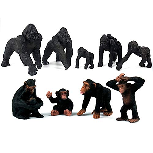 FUNSHOWCASE African Jungle Animals Toy Chimpanzees and Gorilla Figure Realistic Plastic Figurine Playset Lot 9-Piece -