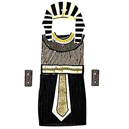Acecharming Kid Pharaoh Costume Set, Boy's Egyptian Role Play Costume(8-10 Years) Black and Gold