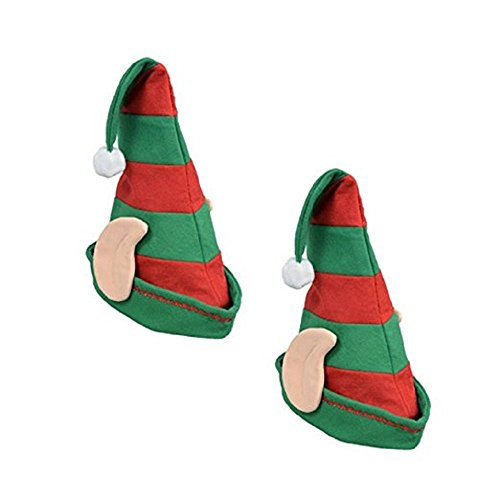 (2 Pack: Christmas House Striped Elf Hats with Ears, 19 inch )
