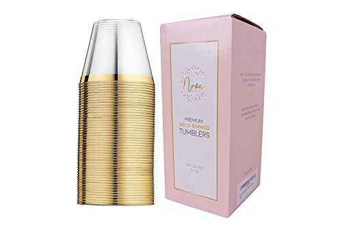 Nova 50 Pack Gold Rimmed Plastic Party Cups 9 Oz Crystal Clear Disposable Tumbler Glasses Great for Wine Champagne or Cocktails and Ideal for any Wedding Party or Fancy Event for $<!--$14.88-->
