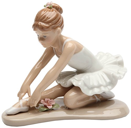 Cosmos Gifts 20865 Ballerina in White Ceramic Figurine, 3-7/8-Inch