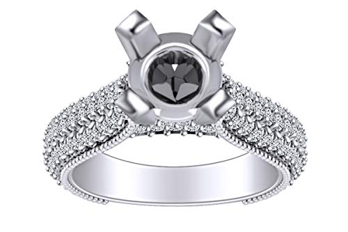 1.9 Carat (Cttw) Round Shape White Natural Diamond Semi Mount Engagement Ring in 14k Solid White Gold Ring Size-5.5