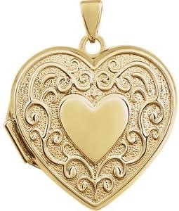 14K Yellow-Heart Locket