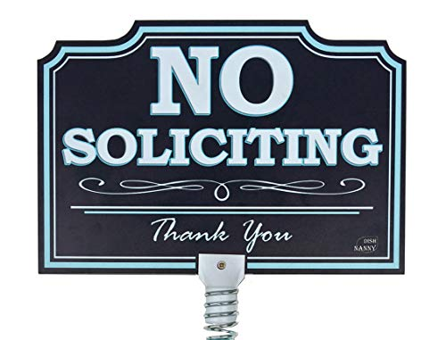 DISH NANNY (New No Soliciting Sign for House) | Dynamic Yard Sign for Home, House and Business | Two Sides | Made with Metal Stake (Blue)