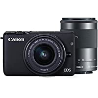 Canon EOS M10 Mirrorless Digital Camera with 15-45mm and 55-250mm Lens (Black) - International Version (No Warranty)