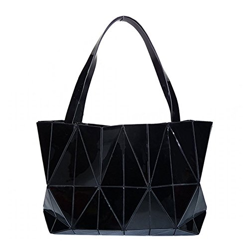 Jockey Flower Print (New Fashion Bag Women Plain Folding Lady Handbags Geometry Style Female Shoulder Bags Large Women Casual Tote Famous (Black Color))