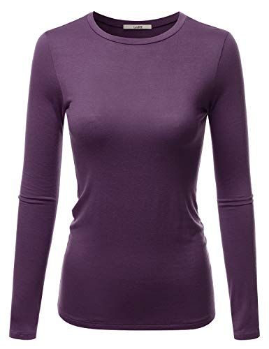 LALABEE Women's Casual Long Sleeve Crewneck Stretch Slim Fit Basic Top T-Shirt DUSTYPURPLE S