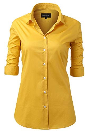 Basic 3/4 Sleeved Cotton Simple Button Down Shirts for Women Yellow Shirts Size 14