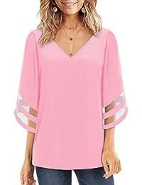 Ranphee Women V Neck Blouse 3/4 Bell Sleeve Solid Color Tops Elegant T-Shirt