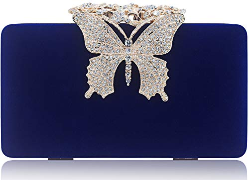 Dexmay Unique Velvet Clutch with Rhinestone Crystal Butterfly Clasp Women Evening Bag for Formal Party Blue