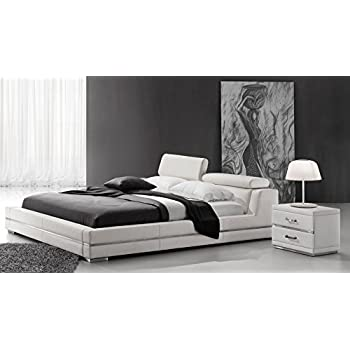 Hera White Leather Platform Bed   Queen