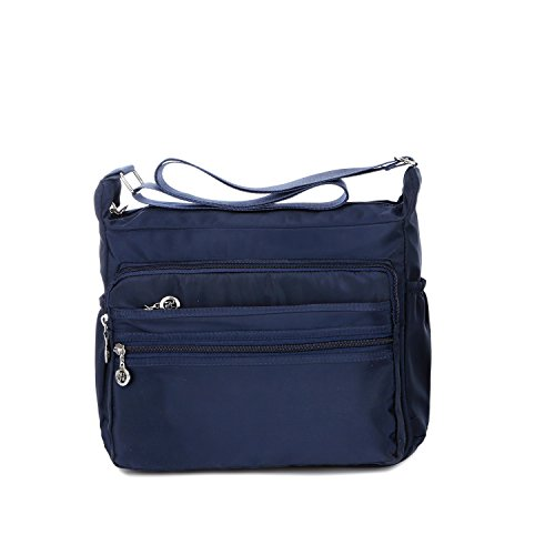Crossbody Bag for Women Waterproof Shoulder Bag Messenger Bag Casual Canvas Purse Handbag (Large, Navy Blue)