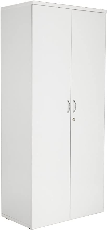 Relax Office Smart 1800mm Wooden High Office Cupboard With 4 Shelves And Lockable Double Doors Office Storage Tall Cupboard File Organiser Adjustable Shelves White Finish Amazon Co Uk Kitchen Home