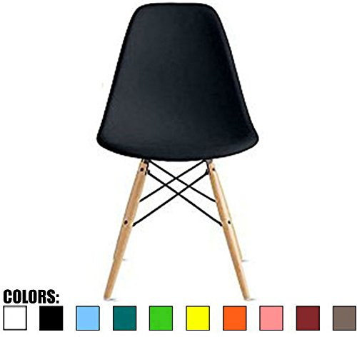 2xhome – Black – Plastic Molded Side Chair Natural Wood Legs Eiffel Dining Room Chair – Lounge Chair No Arm Arms Armless Less Chairs Seats Wooden Wood leg Wire Leg