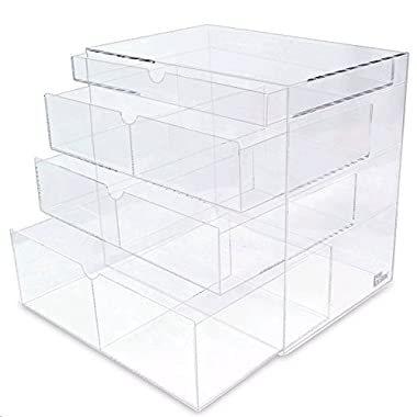 Ikee Design® Acrylic Cosmetics Lipsticks Makeup Organizer Holder Box with 4 Removable Drawers , 10 W x 7 D x 9 1/4 H. MADE IN TAIWAN
