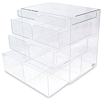 Ikee Design Premium Acrylic Clear Cosmetics Acrylic Makeup Drawer Organizer  Tray Office Supplies Holder with 4
