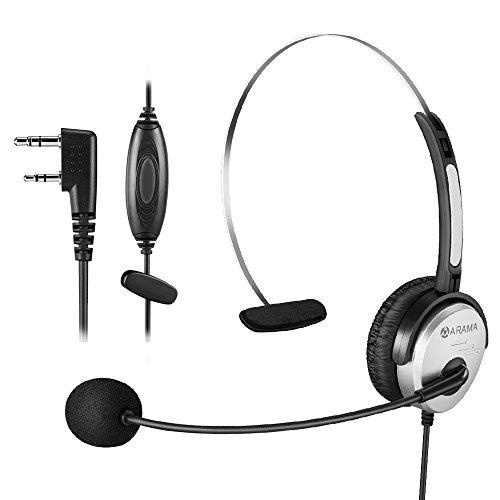 Arama PTT MIC Headphone Headset w/ Adjustable Band for Baofeng UV-5R BF-480 666S Kenwood TK-208 TK-220 TK-240 KPG27D TH-D7 Radios. by Arama