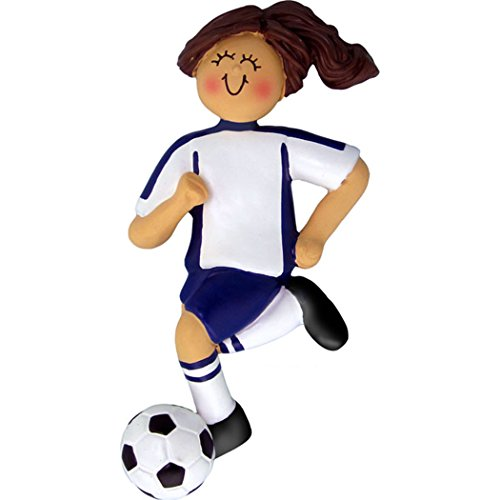 (Personalized Soccer Girl Christmas Tree Ornament 2019 - Brunette Team Athlete Score Profession Hobby High School FIFA Brown Hair Grand-Daughter - Free Customization (Female Blue Uniform))