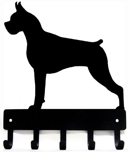 Boxer Key Rack/ Dog Leash Hanger with 5 hooks Small 6 inch wide