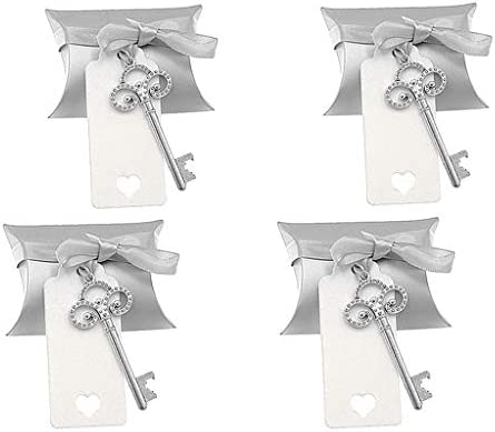 Kinteshun Wedding Party Favor Set,Skeleton Key Bottle Openers Candy Box Escort Card Tag and Ribbon 40pcs,Silver Keys