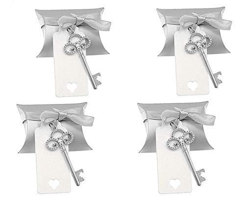 (Kinteshun Wedding Party Favor Set,Skeleton Key Bottle Openers Candy Box Escort Card Tag and Ribbon(40pcs,Silver Keys))