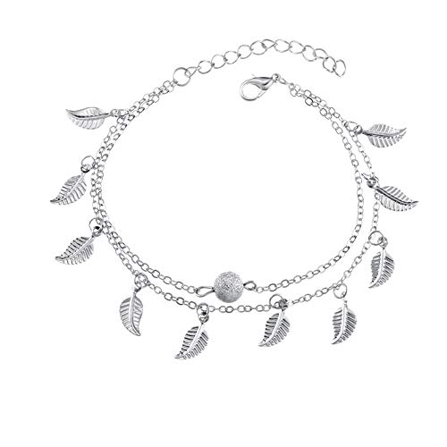 Starfish Turtle Layered Anklets Turquoise Life Tree Various Beach Anklet Wireless Pearl Turtle and Pineapple Leaves Tassel Anklet Five Star Turtle Beach Anklets (Silver Ball Leaves)