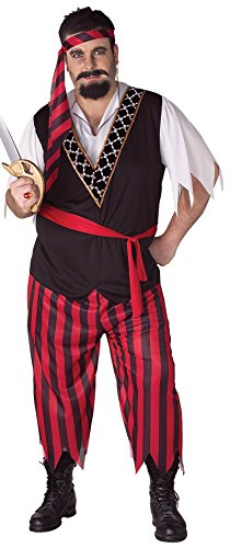 Forum Novelties Men's Pirate Costume, Red/Black, Plus Size (Couples Plus Size Costumes)