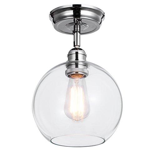 WILDSOUL Industrial Semi Flush Mount Ceiling Light with Bulb, Edison ...