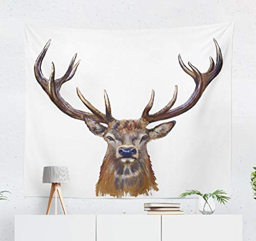 (Kutita Tapestry Wall Hanging Deer Head Digital Front Stag Hunting Red Trophy Oil Wall Tapestry Home Decorations for Bedroom Living Room Dorm Decor in 60