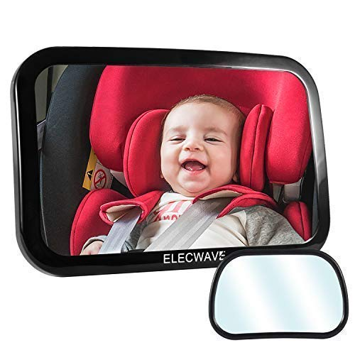 Baby Backseat Mirror For Car [2 Set], Elecwave Stable Rear View Baby Car Seat Mirror - Fully Assembled, Adjustable and Wide Convex Shatterproof Glass Plus Small Mirror