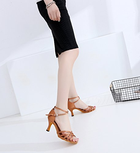 Minishion Brozne 5cm Shoes Party Latin Heel Classic Satin 7 Ballroom Wedding Evening Dancing Women's Sandals Girls r67qwrU
