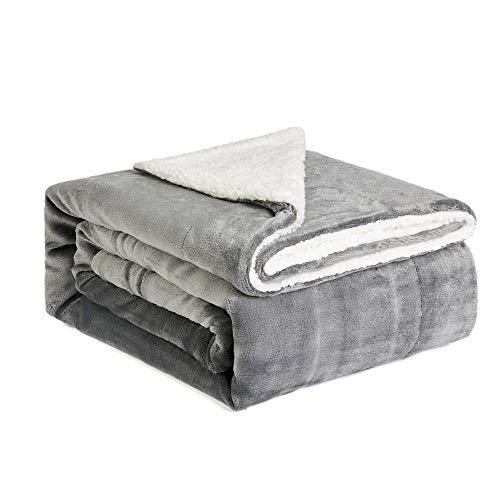 NEWSHONE Sherpa Throw Blanket Flannel Fleece Throw Blanket for Sofa Couch Warm Cozy Microfiber Reversible Plush Soft Warm Fuzzy Throw(60x 80 inches, Grey) (Soft Reversible Blanket)