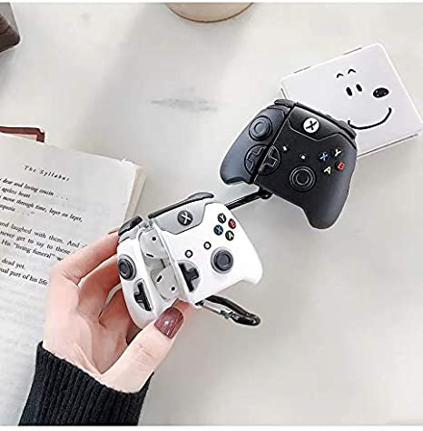 BlossomingLove Compatible with AirPods Case Keychain Full Protective Premium PVC Soft Rubber Silicone Cover Fashion Dope Self-Design Gamepad Skin for AirPods Charging Case Black Switch