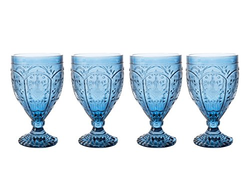 Green Glass Goblet - Fitz and Floyd 83-002 Trestle Collection Set of 4 Glass Goblets, 12-Ounce, Indigo