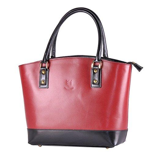 BORDERLINE - 100% Made in Italy - Sac Femme en Cuir - TINA Rouge - Noir