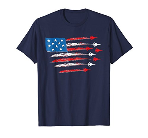 Fighter Jet T Shirt 4th of July American Flag Patriotic Gift