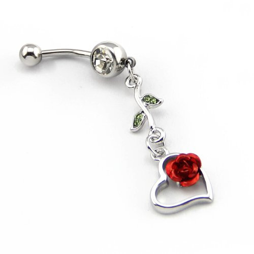 Heart Rose Belly Button Ring - 3