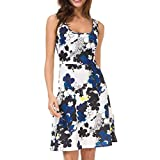 Women's O Neck Short Dress Floral Print Swing Mini Dress Sleeveless Zip Up Summer Beach Dress with Belt(Blue,S)