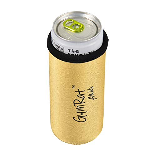 12 Oz Slim Can Cooler for Cans & Bottles (Gold) | Slim Insulated Neoprene Can Sleeve Keeps Drinks Cold | Reinforced Stitching Perfect for Slim Drinks | NEW !