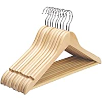 Everyonic 360º Degree Solid Wood Garment Hangers with Non Slip Bar and Precisely Cut Notches, Beige