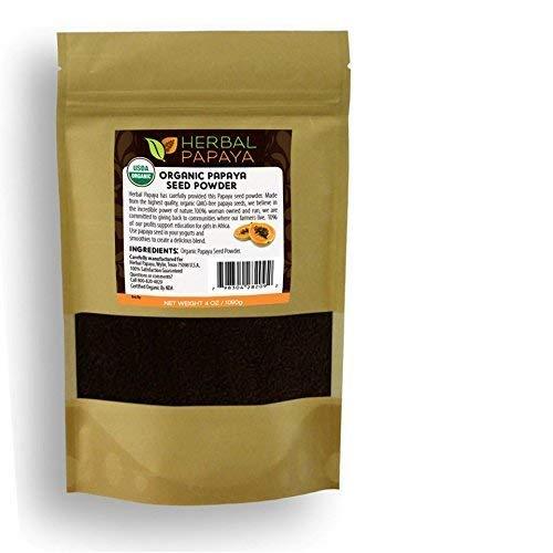 Papaya Seed Powder – 100% Pure USDA Organic – Non-GMO Verified – Kosher - Digestive Enzyme Plus – Super-Fruit For Gentle Detox - Gut & Liver Cleanse – Eliminate Parasite - By Herbal Goodness - 4oz by Herbal Papaya (Image #1)