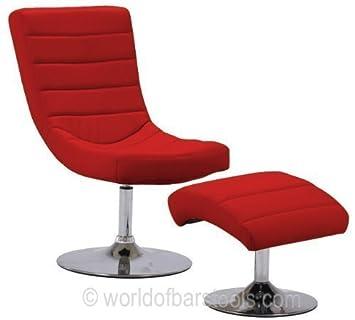 Modern Swivel Chair U0026 Foot Stool Red