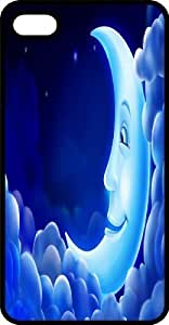 meilz aiaiWaxing Crescent Blue Moon Smiling In The Clouds Black Plastic Case for Apple iPhone 5 or iPhone 5smeilz aiai