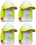 EZ-Cool 396-800-YEL Hi-Vis Hard Hat Neck Sun Shade With Visor, Large, Yellow (Расk оf Fоur)