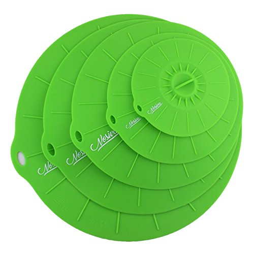 Silicone Suction Lids - Set of 5 (including an extra large 14 inch lid) - Reuseable Suction Food Covers, Fits Various Sizes of Cups, Bowls, Pans, or Containers (Green)