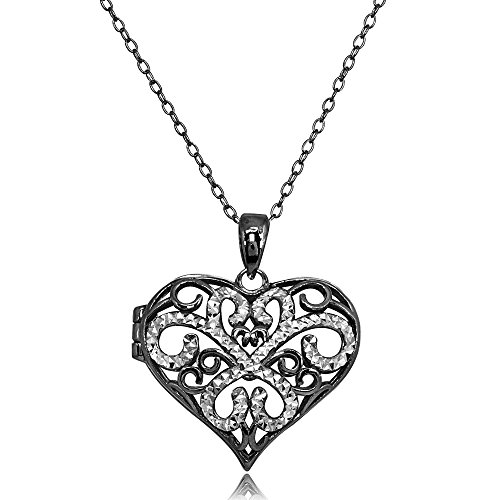 (Black Flashed Sterling Silver Two-Tone Polished Diamond-Cut Heart Filigree Picture Locket Necklace)