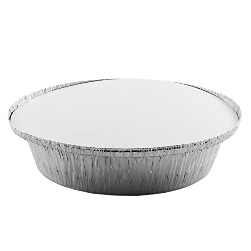 "7"" Diameter Round Food Take Out Containers (50-pack); Disposable Aluminum Takeaway Pans with Foil Coated Cardboard Lid, Meal Preparation Food Storage Carryout To Go Plate / Bowl (50 sets)"